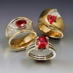 14k gold rings, set with diamonds and fair trade Nyala rubies from Malawi, sourced by Columbia Gem House. Photo courtesy Trios Studio, Lake Oswego, OR.
