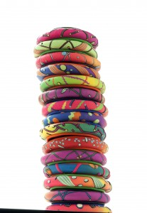 ColorPop Bangles, by 2Roses. Polymer clay. Photo John Lemieux Rose.