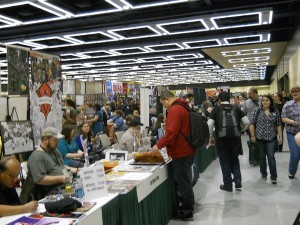 Crowds browse at a Comic Con. Photo courtesy Devon Monk.