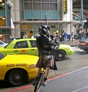 Darth Vader maneuvers though traffic. Who knew he was Scottish? Photo courtesy Devon Monk.