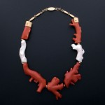 Neckpiece of white and red branch coral with 18k yellow gold accents. Darryl Dean Begay's work finds enthusiastic collectors in Asia, particularly Japan. Photo courtesy of the artist, Darryl Dean Begay.